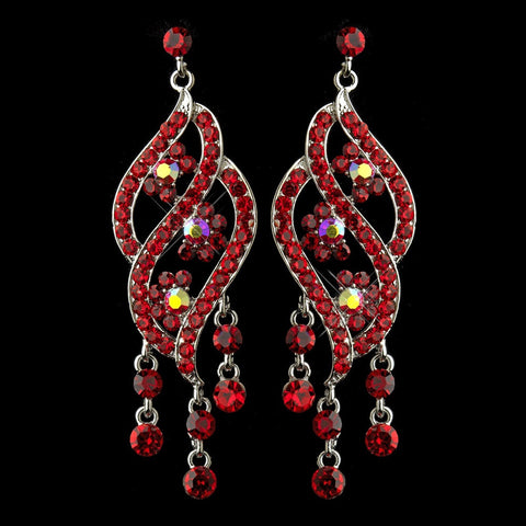 Chandelier, Earrings, Jewelry, Red, Rhinestones, Silver