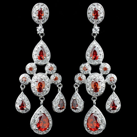 Chandelier, Crystals, Cubic Zirconias, Earrings, Jewelry, Pear, Red, Rhodium
