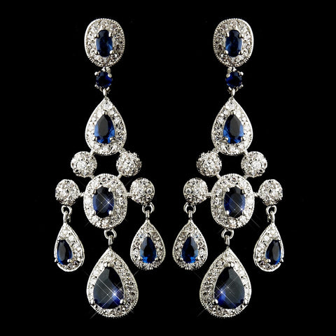 Blue, Chandelier, Crystals, Cubic Zirconias, Earrings, Jewelry, Oval, Pear, Rhodium, Sapphire