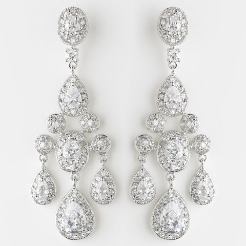 Chandelier, Clear, Crystals, Cubic Zirconias, Earrings, Jewelry, Oval, Pear, Rhodium