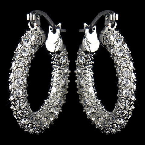 Clear, Crystals, Cubic Zirconias, Earrings, Hoop, Jewelry, Rhodium