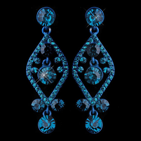 Blue, Dangle, Earrings, Jewelry, Rhinestones, Turquoise