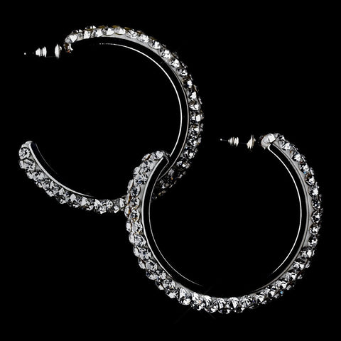 Earrings, Gemstones, Hoop, Jewelry, Rhinestones, Rhodium, Smoke