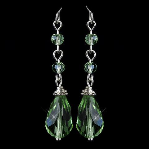 Crystals, Dangle, Earrings, Green, Jewelry, Pear, Silver