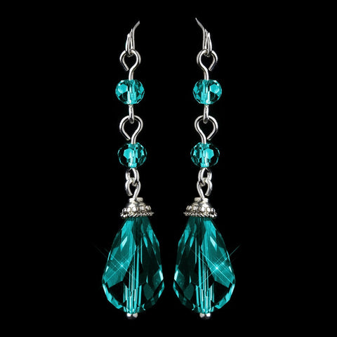 Blue, Crystals, Dangle, Earrings, Jewelry, Pear, Silver, Teal