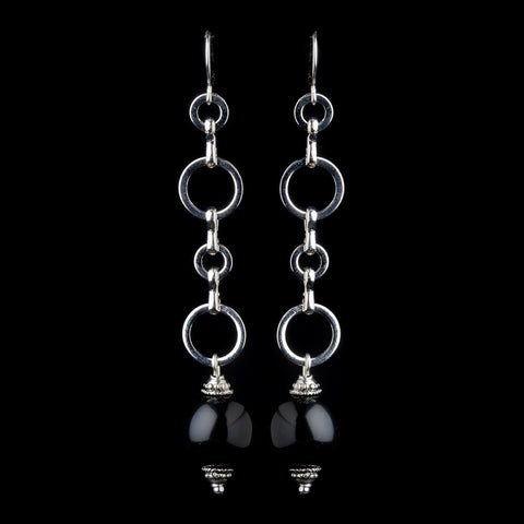 Black, Dangle, Earrings, Faux Pearls, Jewelry, Pearls, Silver