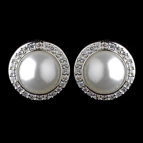Crystals, Cubic Zirconias, Earrings, Faux Pearls, Jewelry, Pearls, Solid 925 Sterling Silver, Sterling Silver, Stud, White