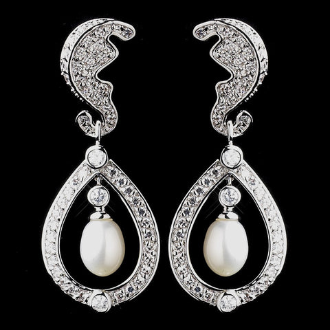 Celebrity, Crystals, Cubic Zirconias, Drop, Earrings, Freshwater Pearls, Ivory, Jewelry, Kate Middleton, Pearls, Rhodium, Royal Princess