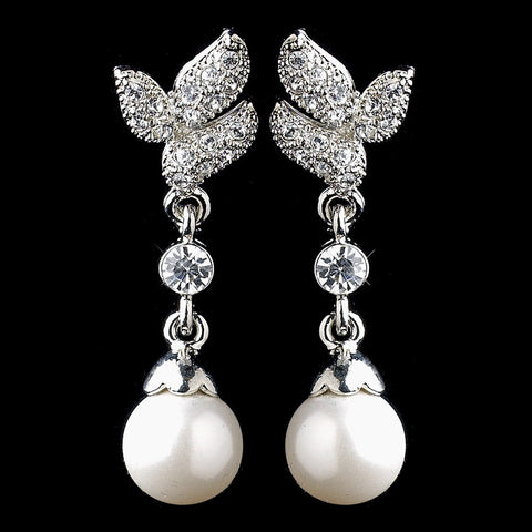 Crystals, Cubic Zirconias, Diamond White, Drop, Earrings, Faux Pearls, Jewelry, Pearls, Rhodium