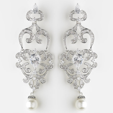 Chandelier, Crystals, Cubic Zirconias, Diamond White, Earrings, Faux Pearls, Jewelry, Pear, Pearls, Rhodium