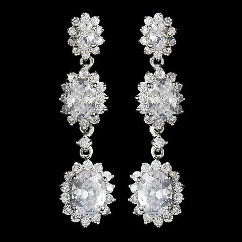 Clear, Crystals, Cubic Zirconias, Dangle, Earrings, Jewelry, Oval, Rhodium