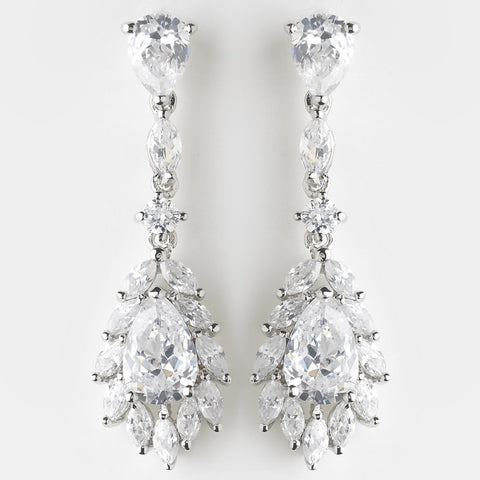 Clear, Crystals, Cubic Zirconias, Drop, Earrings, Jewelry, Marquise, Pear, Rhodium