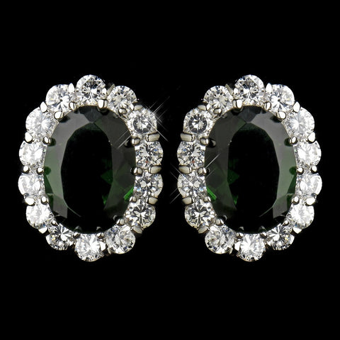 Crystals, Cubic Zirconias, Earrings, Emerald, Green, Jewelry, Oval, Rhodium, Stud