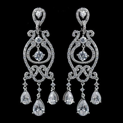 Chandelier, Clear, Crystals, Cubic Zirconias, Earrings, Jewelry, Pear, Solid 925 Sterling Silver, Sterling Silver