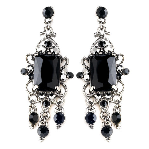 Black, Chandelier, Earrings, Gemstones, Jewelry, Rhinestones, Rhodium