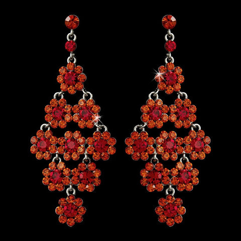 Chandelier, Earrings, Jewelry, Orange, Red, Rhinestones, Silver