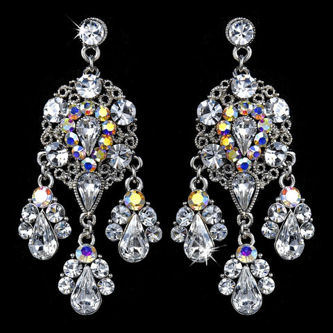 AB, Chandelier, Crystals, Earrings, Jewelry, Pear, Rhinestones, Silver