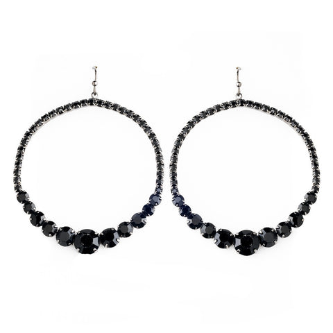 Black, Earrings, Hoop, Jewelry, Rhinestones, Silver