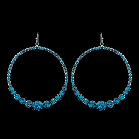 Blue, Earrings, Hoop, Jewelry, Rhinestones, Silver, Turquoise
