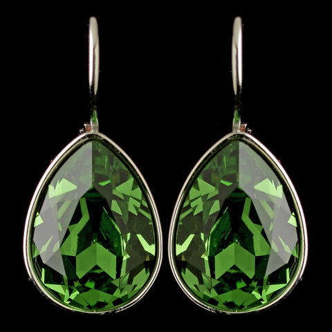 Crystals, Drop, Earrings, Green, Jewelry, Pear, Peridot, Silver, Swarovski Elements