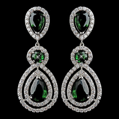 Crystals, Cubic Zirconias, Dangle, Earrings, Emerald, Green, Jewelry, Pear, Rhodium