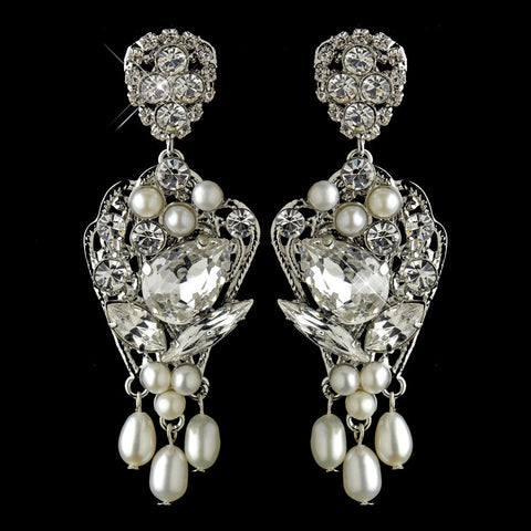 Earrings, Freshwater Pearls, Gemstones, Ivory, Jewelry, Marquise, Pear, Pearls, Rhinestones, Rhodium