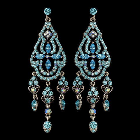Aqua, Blue, Chandelier, Earrings, Jewelry, Rhinestones, Rhodium
