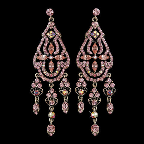 Chandelier, Earrings, Jewelry, Pink, Rhinestones, Rhodium