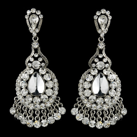 Chandelier, Clear, Earrings, Gemstones, Jewelry, Pear, Rhinestones, Rhodium
