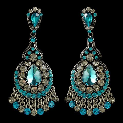 Blue, Chandelier, Earrings, Gemstones, Jewelry, Pear, Rhinestones, Rhodium, Teal