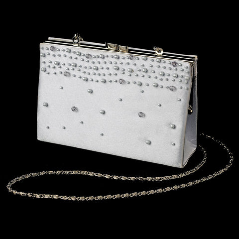 Accessories, Evening Bag, Silver, Silver Metallic, White