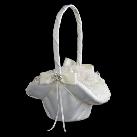 Accessories, Ceremony, Children's Accessories, Flower Girl Basket, Ivory, Lace, White