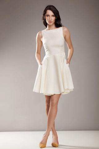 Cream Above Knee Audrey Hepburn Style Pleated Swing Dress
