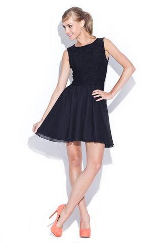 Black Above Knee Audrey Hepburn Style Pleated Swing Dress with Lacey Top