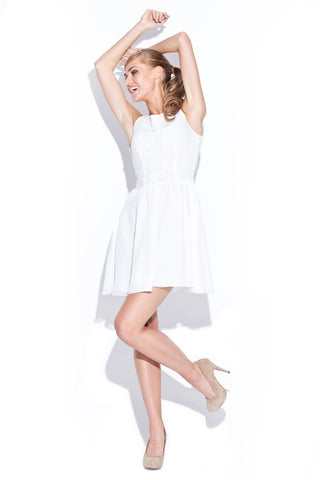 Off White Above Knee Audrey Hepburn Style Pleated Swing Dress with Lacey Top