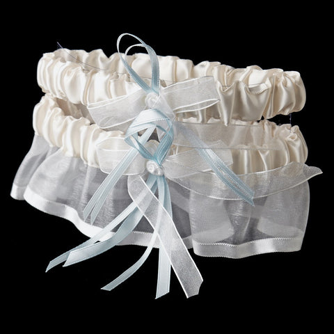 Accessories, Blue, Garter, Ivory, Ivory Blue, White, White Blue