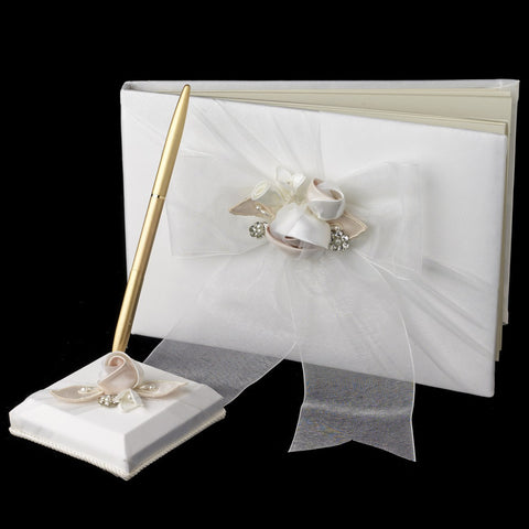 Accessories, Bow, Flower, Guest Book, Ivory, Organza, Reception, Rum