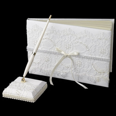 Accessories, Guest Book, Ivory, Lace, Reception, White