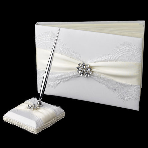 Accessories, Guest Book, Ivory, Reception, Ribbon, White