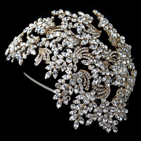 Clear, Gold, Headband, Headpieces, Light Gold, Rhinestones, Side Headband