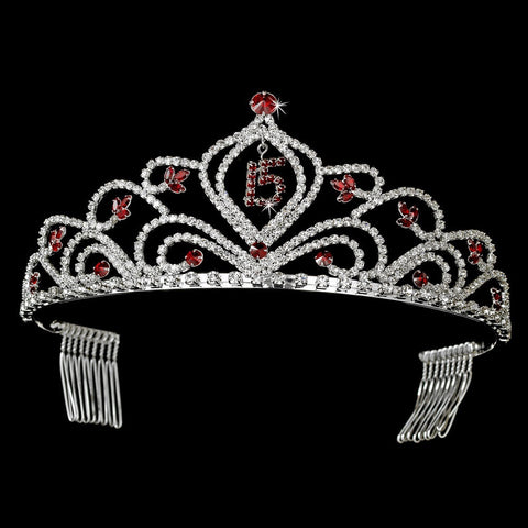 Headpieces, Red, Rhinestones, Silver, Sweet 15, Tiara