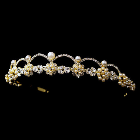 Faux Pearls, Gold, Headpieces, Ivory, Pearls, Rhinestones, Sale, Tiara