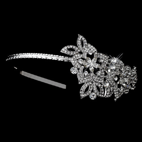 Clear, Headband, Headpieces, Rhinestones, Rhodium, Side Headband