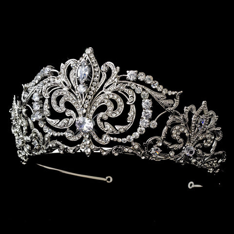 Clear, Headpieces, Pageant Crowns, Rhinestones, Rhodium, Sale, Tiara