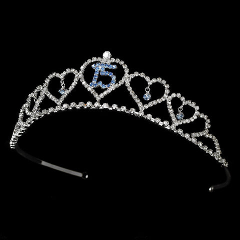 Headpieces, Hearts, Light Blue, Rhinestones, Silver, Sweet 15, Tiara