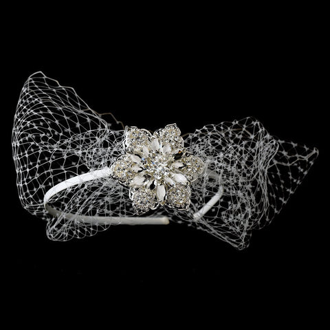 Accessories, Birdcage & Blusher Veils, Fabric, Headband, Headpieces, Ivory, Rhinestones, Side Headband, Silver, Tulle, Veils, White