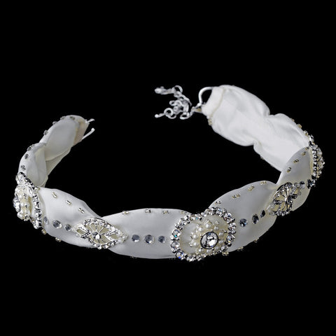Bugle Beads, Fabric, Faux Pearls, Headband, Headpieces, Ivory, Pearls, Rhinestones, Sale, White