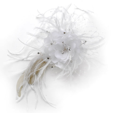 Crystals, Fabric, Feather Fascinators, Feathers, Hair Comb, Hair Flowers, Headpieces, Ivory, Organza, Rhinestones, Swarovski Crystal Beads, Tulle, White