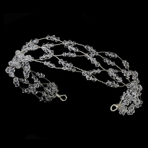 1920s, Bohemian, Clear, Crystals, Forehead Headband, Hair Vines, Headband, Headpieces, Silver, Swarovski Crystal Beads, Vintage