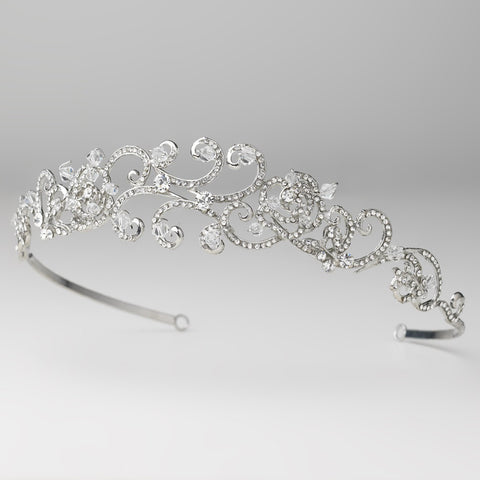 Clear, Crystals, Headpieces, Rhinestones, Rhodium, Swarovski Crystal Beads, Tiara